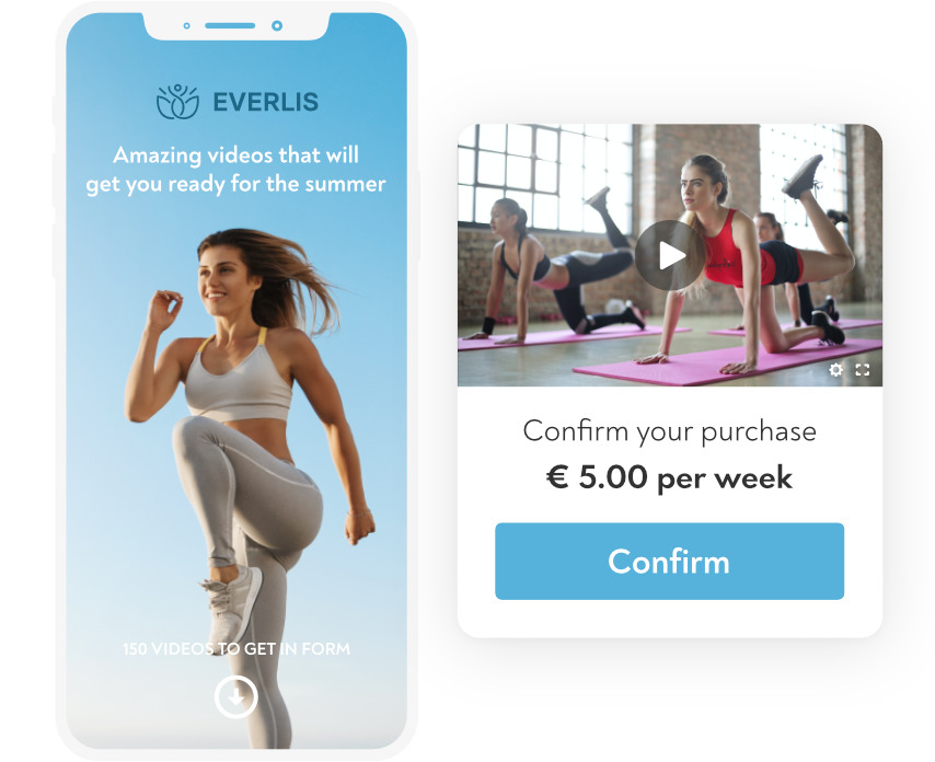Illustration of a sports/fitness service with a subscription model